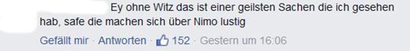 Facebook-Kommentar auf der Facebook-Seite von Alexander von Koenichstheyn