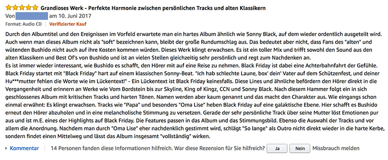 BUSHIDO BLACK FRIDAY CD AMAZON