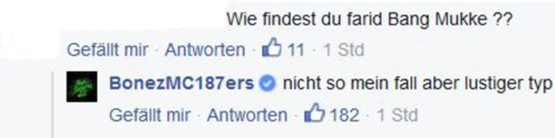 Screenshot: Kommentar von Bonez MC bei Facebook