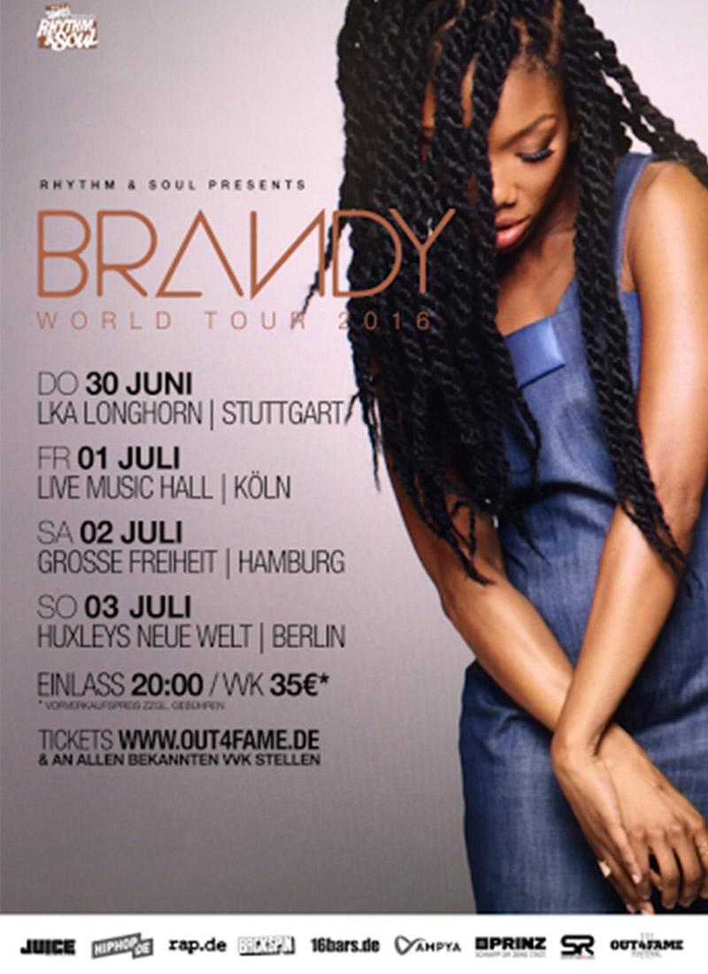 Tourflyer zur World Tour 2016 von Brandy