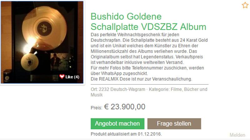 Unfassbar Angebliche Goldene Schallplatte Von Vdszbz Bei