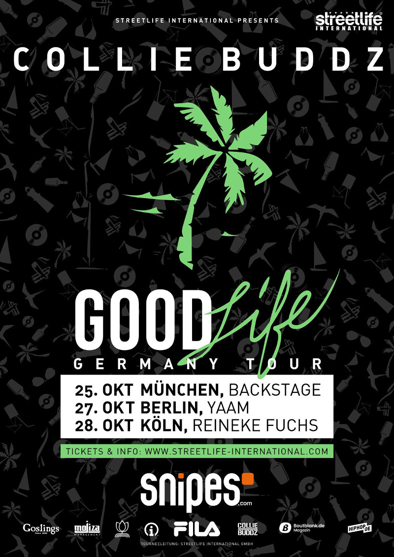 Collie Buddz Tourflyer 800 Good Life Tour Munchen