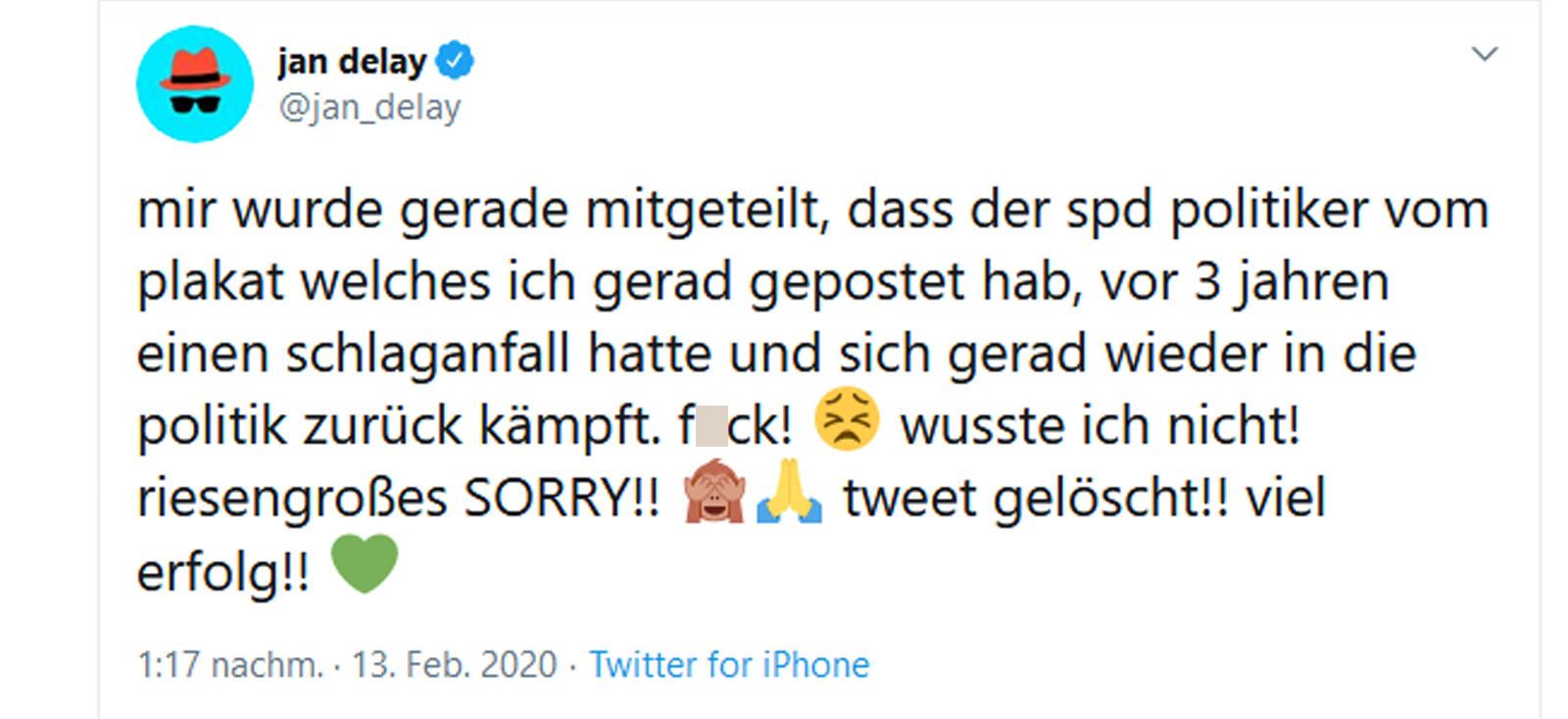 Jan Delay entschuldigt sich bei Politiker