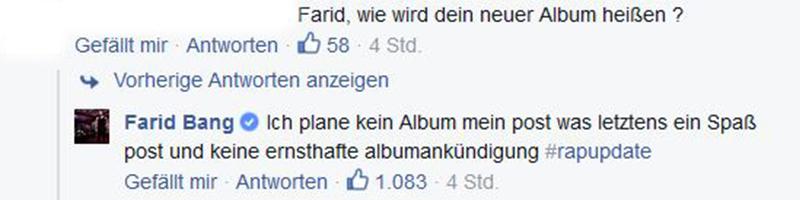 Kommentar von Farid Bang bei Facebook