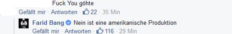 Facebook-Kommentar von Farid Bang