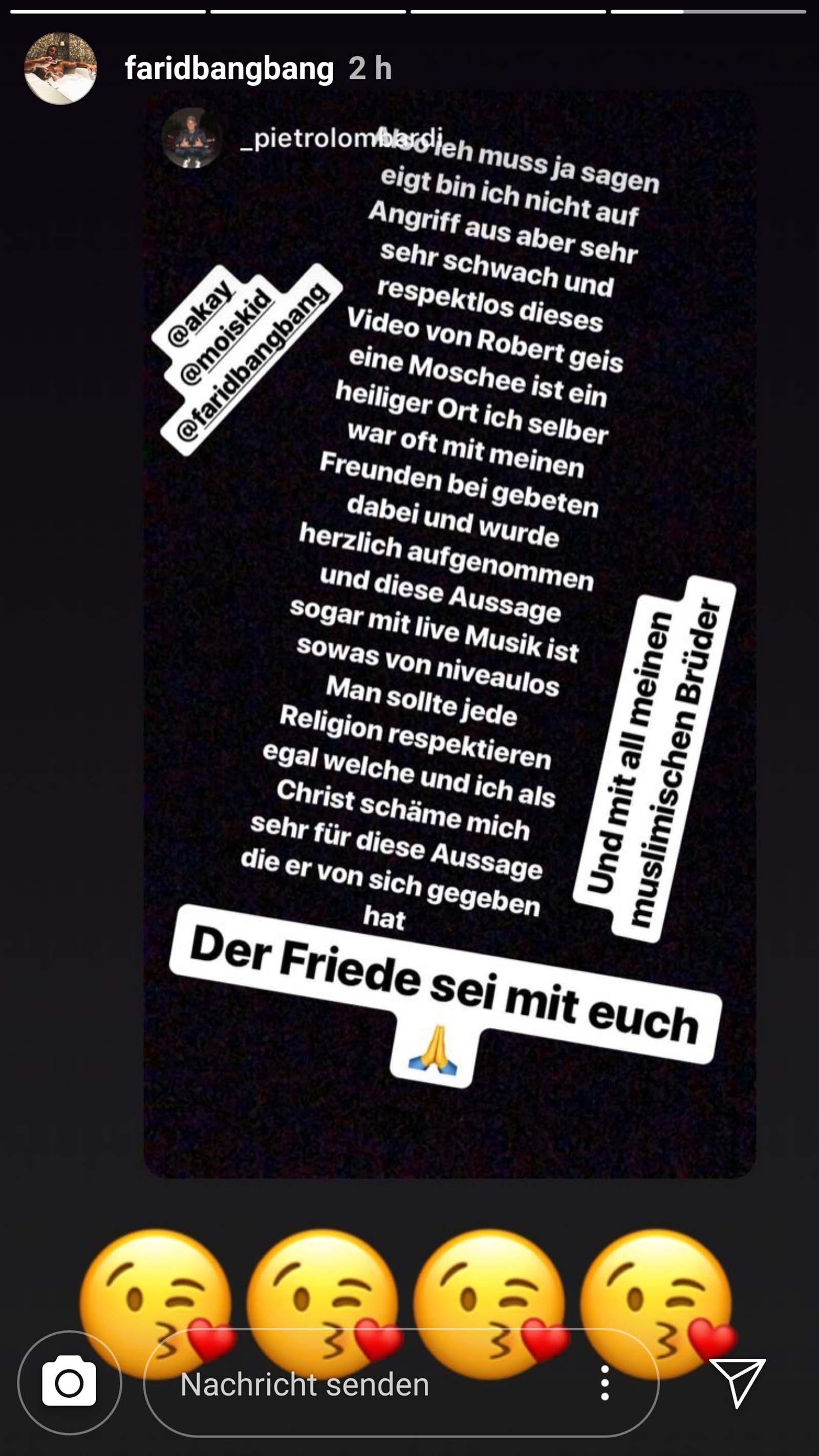 Farid Bang postet Statement von Pietro Lombardi
