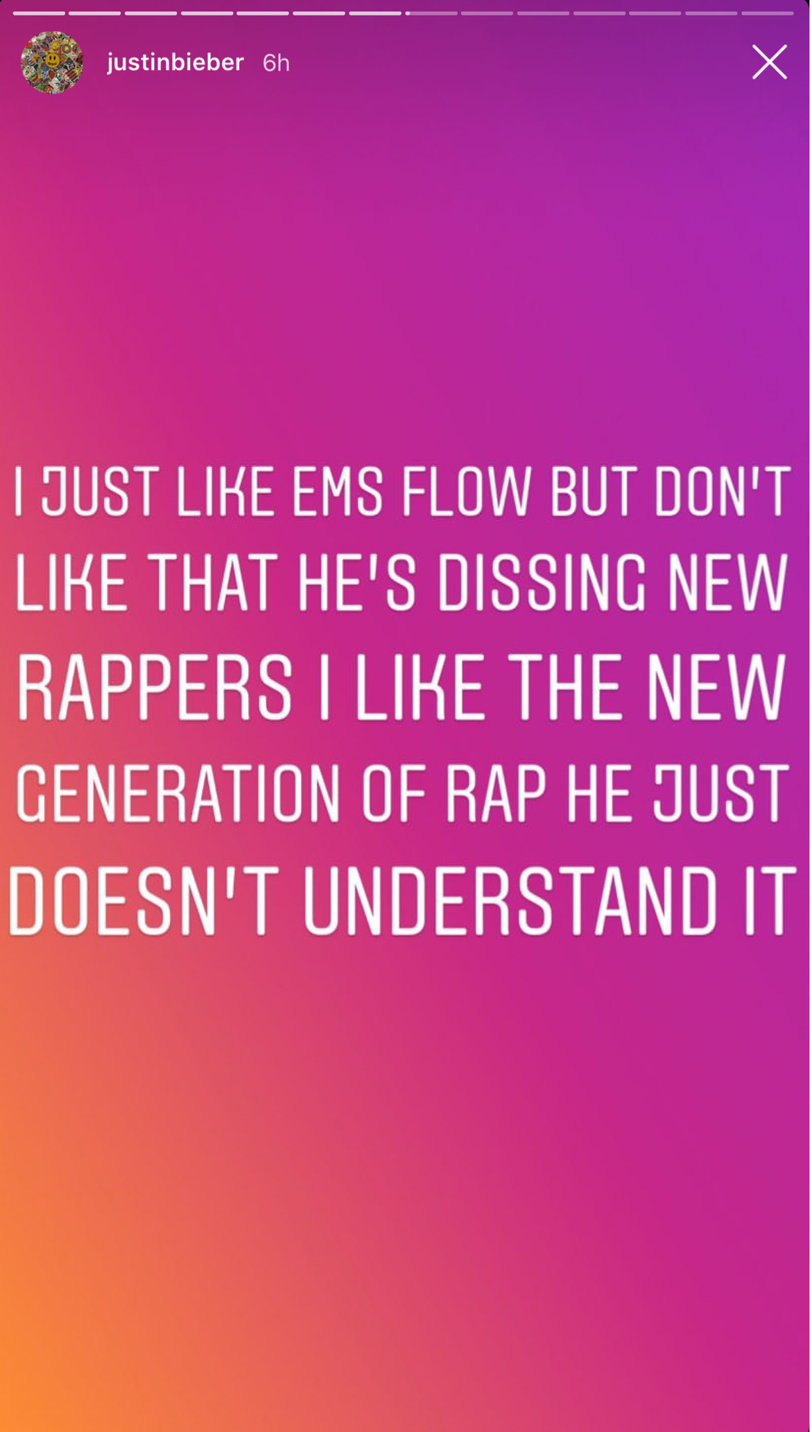 Justin Bieber meint, dass Eminem die neue Rapgeneration nicht versteht