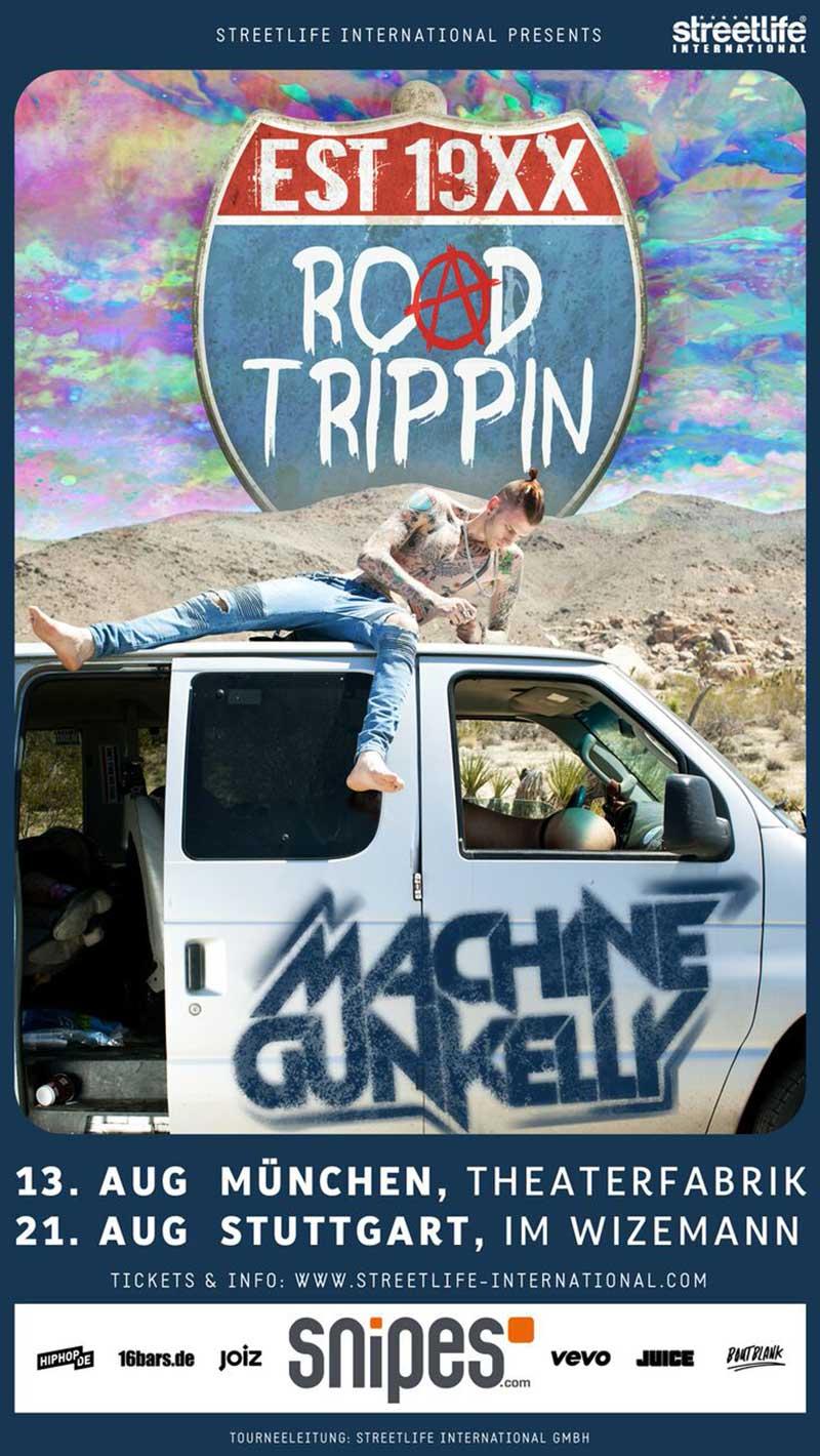 Tourflyer zur Road Trippin Tour von Machine Gun Kelly