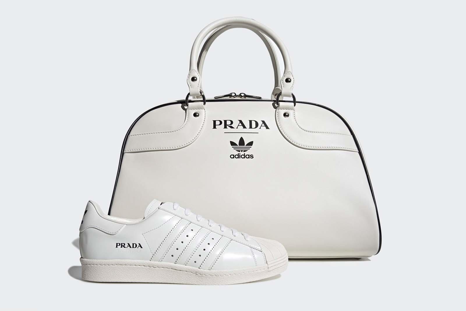 Tasche sowie Sneaker von Adidas und Prada