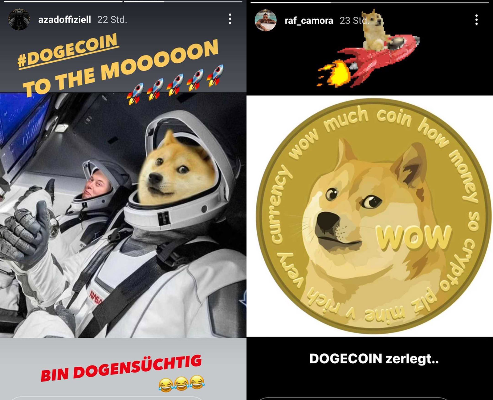Insta Stories: RAF Camora & Azad mit DogeCoin-Investitionen?