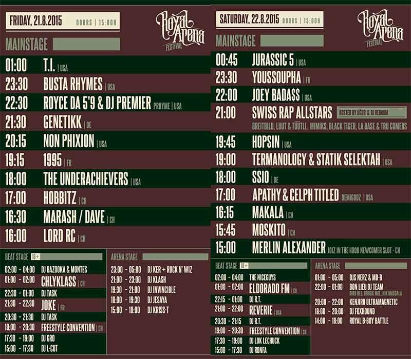 Timetable zum Royal Arena Festival 2015