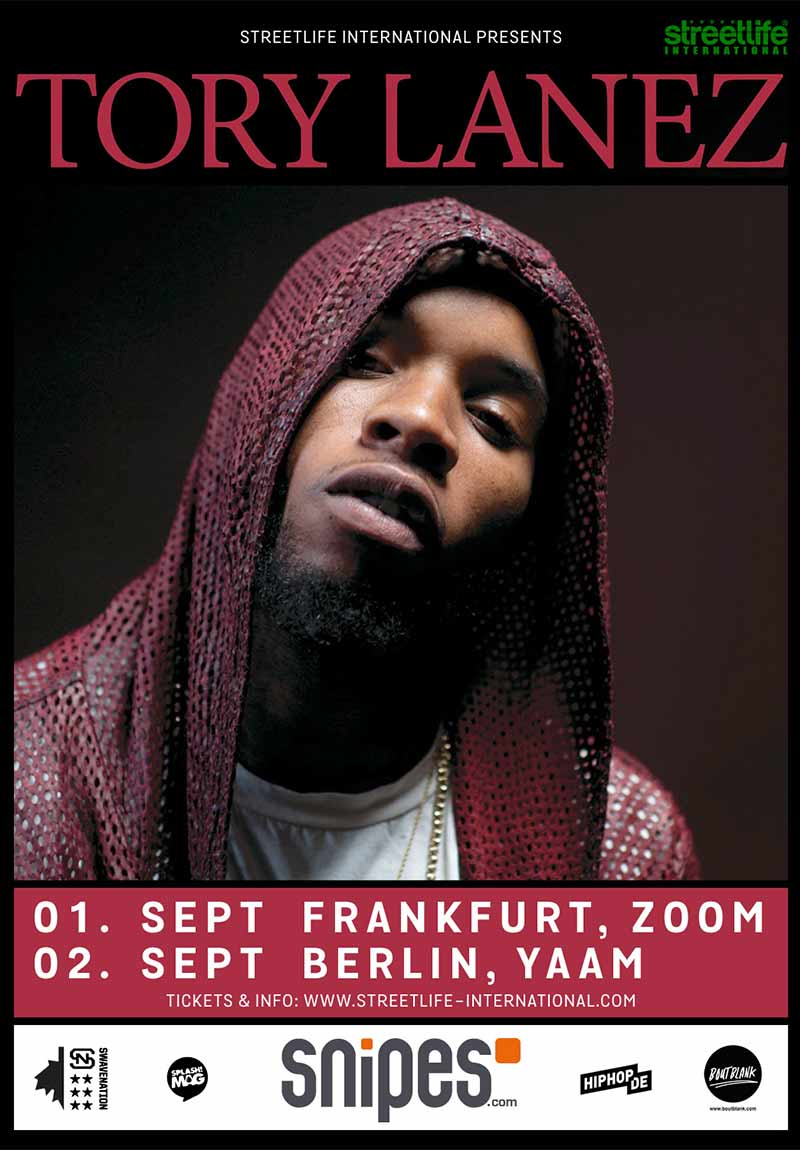 Flyer zu Tory Lanez Live-Shows in Deutschland